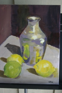Silver vase and lemons 11x14