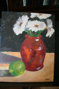 Red vase and lime 11x14 Acrylic on canvas